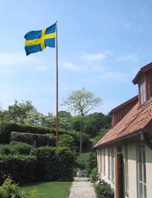 liten flaggstång i trä